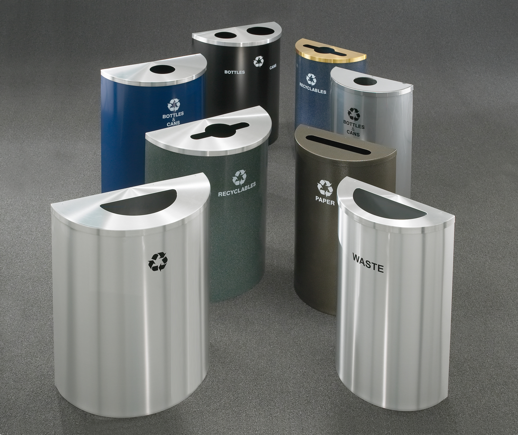 Order half round trash cans online glaro half round for Commercial bathroom trash cans
