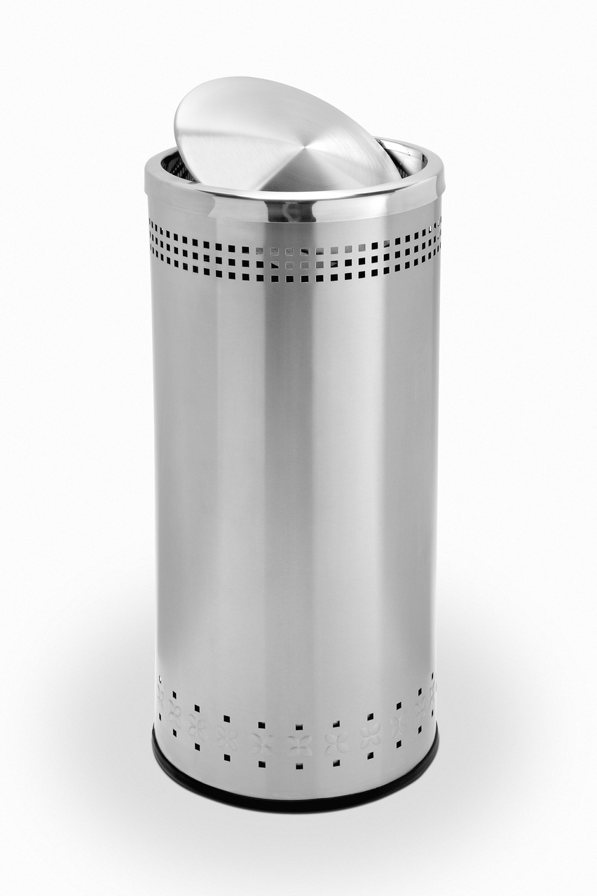 780729 Imprinted Lidopen 28242.1412542420.1280.1280. Imprinted Swivel  Lid Stainless Steel Trash Can