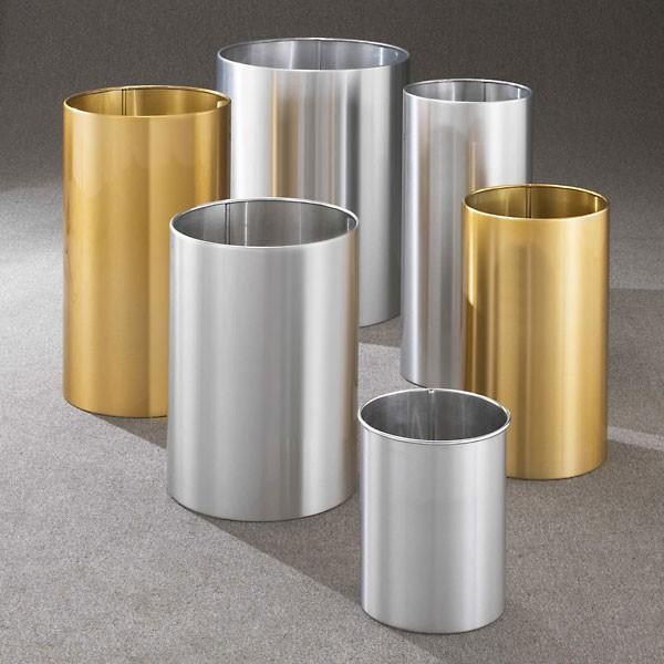 Superb Open Top Wastebaskets Satin Aluminum And Satin Brass.