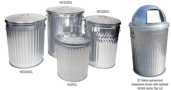 Galvanized Trash Can - Galvanized Garbage Can - Steel Bins