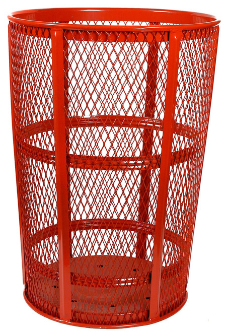 witt industries 48 gallon metal mesh street park trash receptacle red