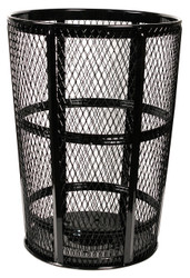 Witt Industries 48 Gallon Metal Mesh Street Park Trash Receptacle Black