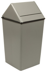 Metal 36 Gallon Swing Top Square Waste Receptacle 1511HT Slate