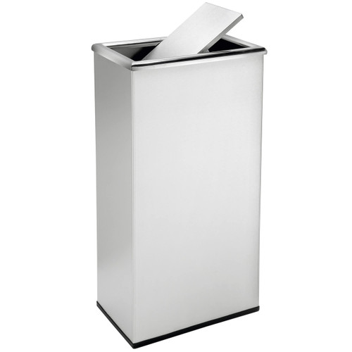 13 Gallon Rectangular Swivel Lid Stainless Trash Can