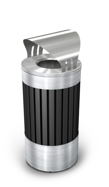 25 gallon riverview steel covered outdoor trash can commercial zone
