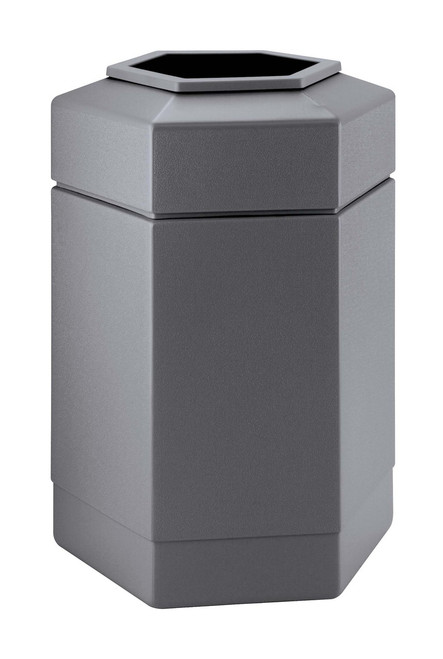 30 Gallon All Season Indoor Outdoor Hexagon Plastic Garbage Can Gray - Deck And Patio Trash Can - Garbage Cans - Trash Container