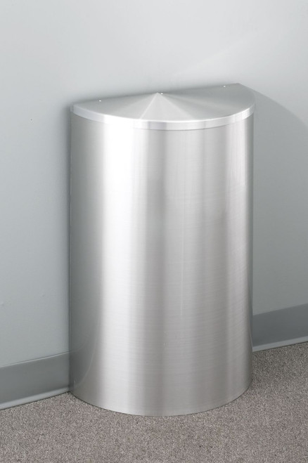 14 Gal Glaro Half Round Trash Can W Hinged Lid And