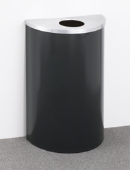 14 Gallon Half Round Trash or Recycling Can Hinged Lid Satin Aluminum Top