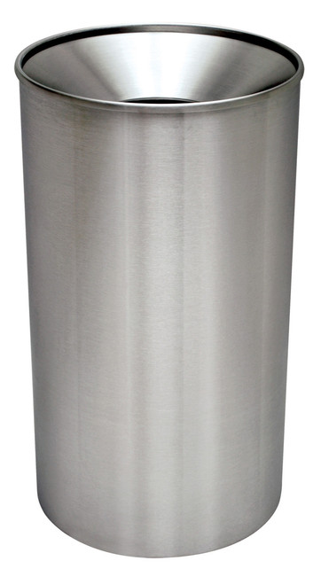 33 gallon metal indoor outdoor stainless steel funnel trash can wr33f ss - Commercial Trash Cans