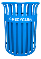 36 Gallon Metal Streetscape Outdoor Recycling Trash Can RC-SC2633 RBL