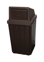 Kolor Can Signature 32 Gallon Heavy Duty Trash Receptacle with Push Door Lid BROWN