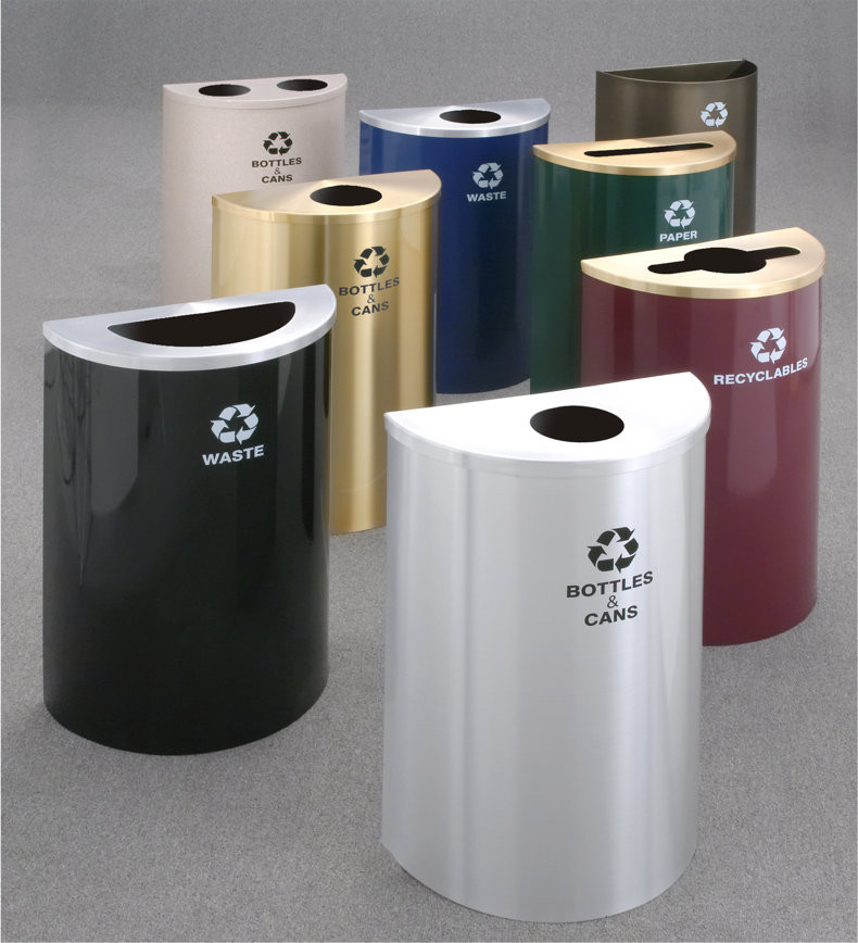 16 gal glaro value half round trash can w hinged lid 29 - Commercial bathroom waste receptacles ...