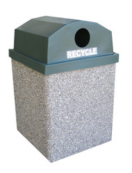 40 Gallon Dome Top Concrete Outdoor Recycling Garbage Can 40GRL-R (6 Finishes)