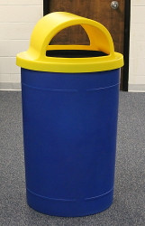 55 Gallon Kolor Can Round Plastic Trash Can S8330-00 (11 Colors, Choose a Lid)