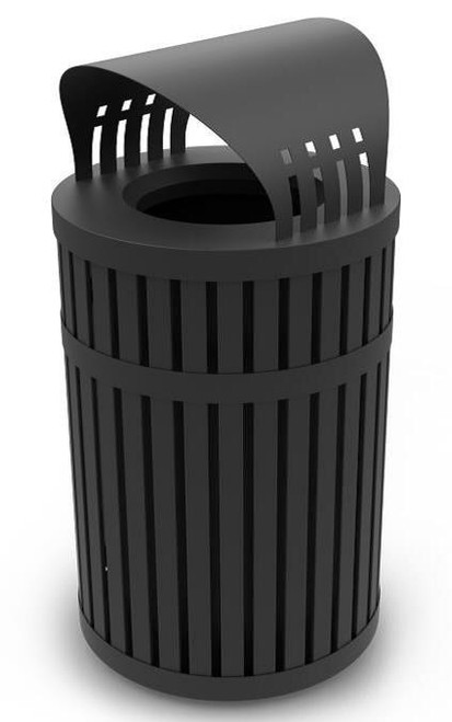 45 gallon archtec parkview 3 covered trash can for outdoor public use