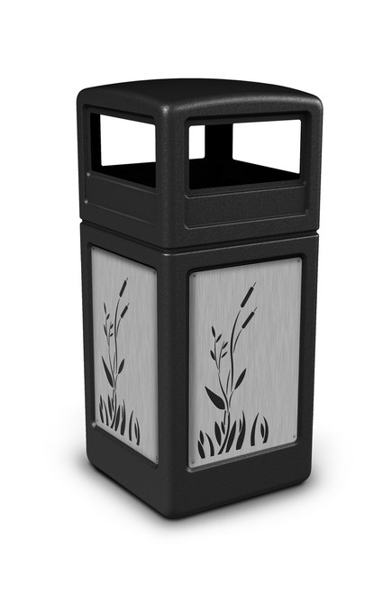 42 gallon stainless steel panel trash can with dome lid 3 colors 4 designs