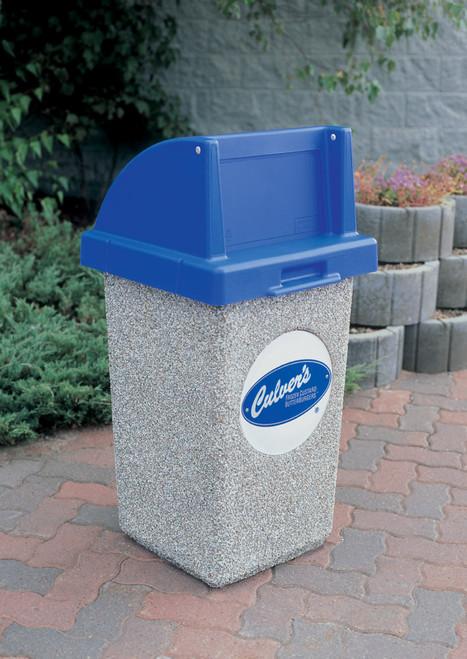 30 Gallon Custom Logo Concrete Square Outdoor Trash Can