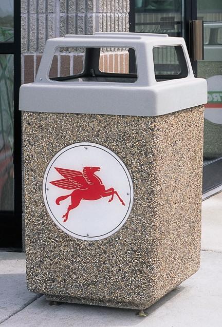 53 Gallon Custom Logo Concrete Square Outdoor Trash Can