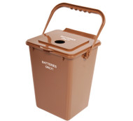2.25 Gallon Brown Battery Recycling Bin for Home BATBIN (Case of 2)