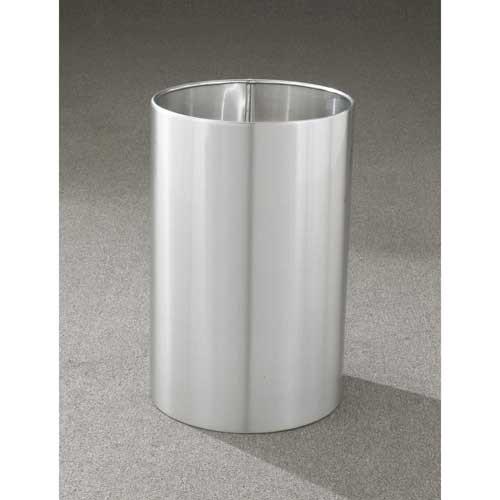18 Gallon 15 X 23 Open Top Office Wastebasket Satin Aluminum