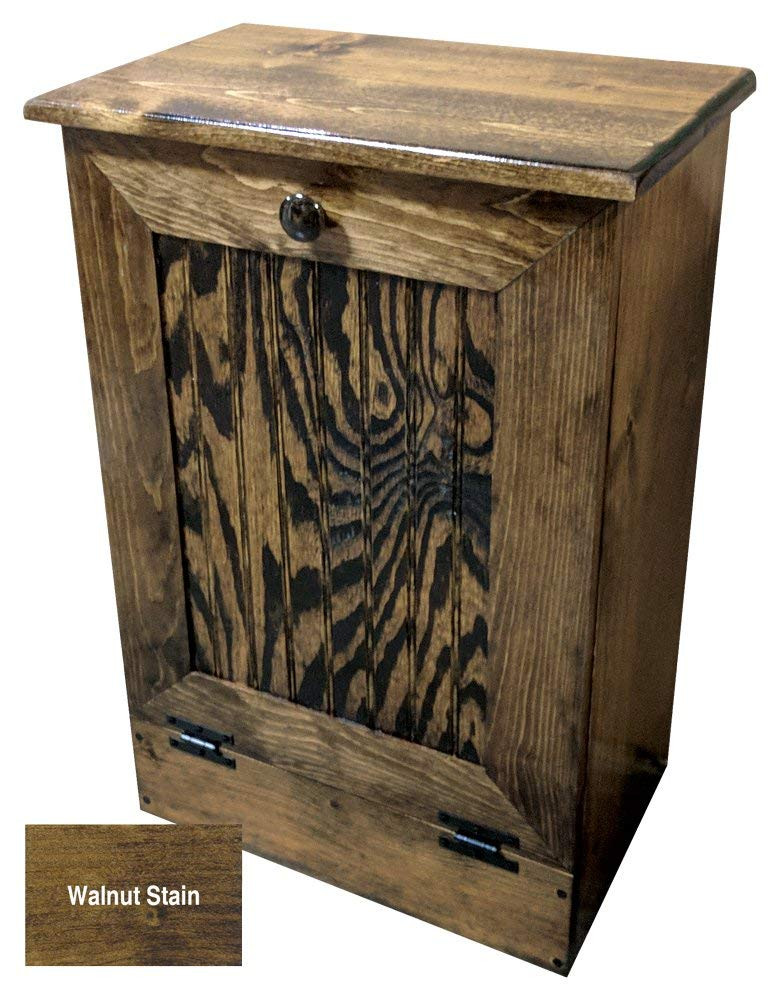 Small Kitchen Tilt Out Wood Trash Can Handmade In Pine 11 Color