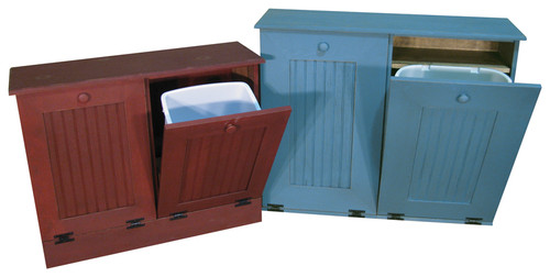 Double Tilt Out Wood Trash Can Recycle Bin (11 Color Choices, 2 Sizes)