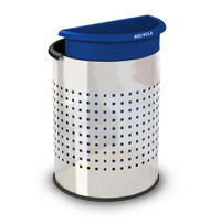 Stainless Steel Dual Office Recycling Wastebasket Perf 780900, 1 Black and 1 Blue Liner