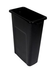 23 Gallon Skinny Trash Can Pre Drilled For Signs Black