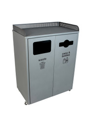 64 gallon metal courtside double food court trash can