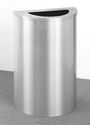 16 Gallon Value Half Round Trash Can Hinged Lid Satin Aluminum