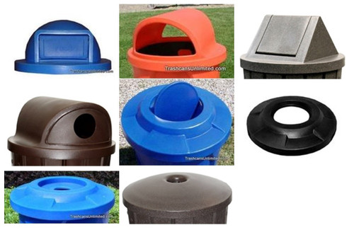 Dome Top & Flat Top Trash Can Lids for Kolor Can & 55 Gallon Drums (9 Styles, 11 Colors)
