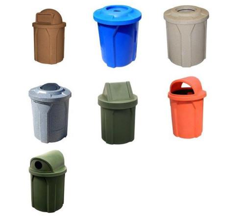 42 Gal. Kolor Can Trash Bin 9 Lid Styles 11 Colors