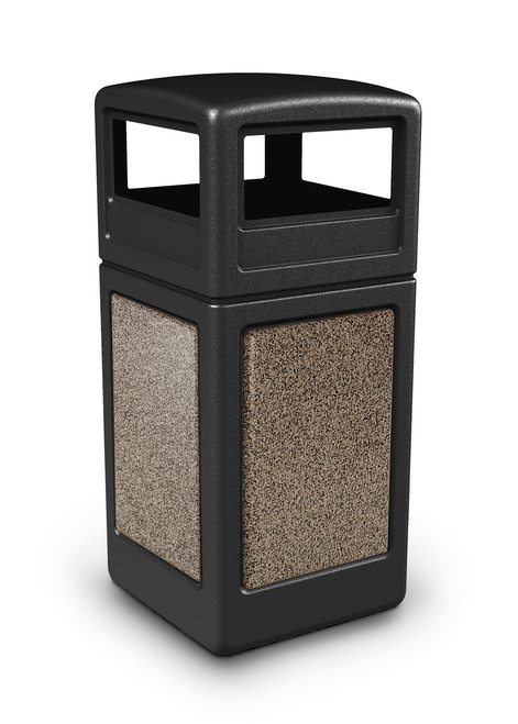 42 Gallon StoneTec Indoor Outdoor Stone Panel Trash Can with Dome Lid Black  with Riverstone - Deck And Patio Trash Can - Garbage Cans - Trash Container