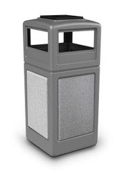 42 Gallon StoneTec Indoor Outdoor Trash Can Dome Lid and Ashtray Gray Ashstone