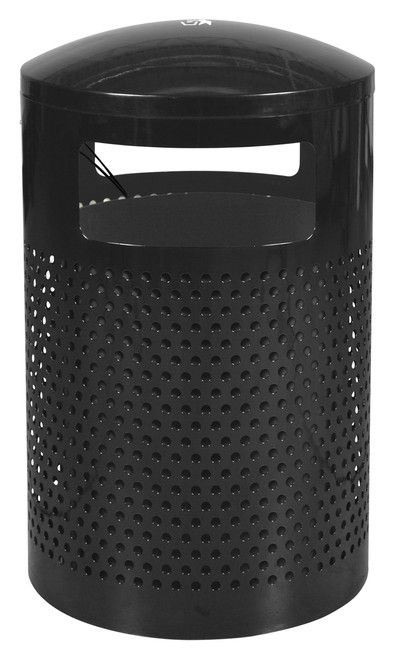 40 Gallon Landscape Series Perforated Outdoor Park Trash Can WR-2441 T BLK