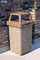 30 Gallon Concrete 4 Way Open Top Outdoor Waste Container TF1016 Exposed Aggregate A1