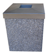 40 Gallon Open Top Outdoor Concrete Garbage Can 40G40LP (6 Finishes)