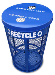48 Gallon Metal Recycling Bin Bottle & Can Collector EXP-52NPBLFTR