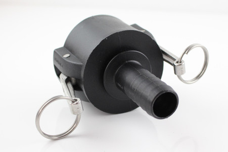 """PolyPropylene (PP)  2"""" Camlock coupler X 1"""" (25mm) hose tail G/P/P, 2"""" part C"""