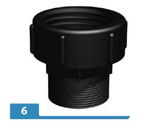 """2"""" BSP hex male adaptor X S75X6 female buttress"""