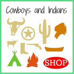 Wooden DIY Craft Unfinished Shapes Cowboys and Indians