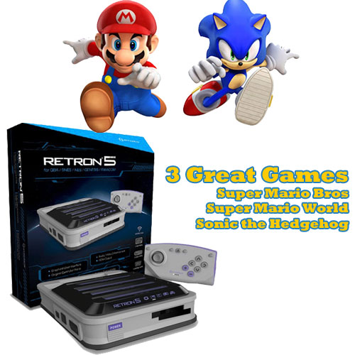 Retron 5 with Mario NES, SNES and Sonic for the Genesis