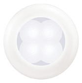 LED LIGHT WHITE W/WHT BEZEL SLIM LINE ROUND LED COURTESY LAMP (HELLA)