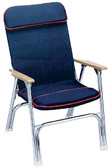 PADDED DECK CHAIR W/RED PIPING CANVAS FOLDING CHAIR (SEACHOICE)