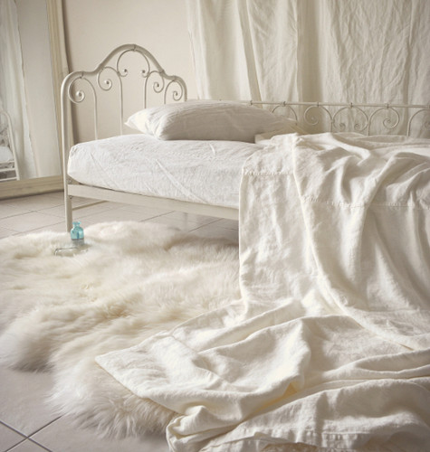 Ivory Rustic Rough Heavy Weight Linen Coverlet Bed Cover