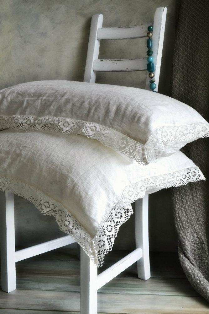 Antique White Linen Pillowcase With Lace Provincial Living