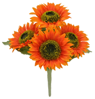 "11"" Sunflower Bush: Orange (4)"
