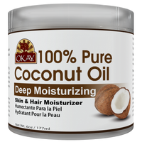 OKAY 100% Pure Coconut Oil Deep Moisturizing - Prevents Dryness & Flaking Of Skin- Softens Hair & Conditions Scalp- Great Moisturizer-- For All Hair Textures And All Skin Types  Silicone, Paraben Free - Made in USA  6oz / 177ml