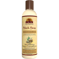 OKAY Black Soap Nourishing Leave In Conditioner - Helps Cleanse, Nourish, And Hydrate Hair - Sulfate, Silicone, Paraben Free For All Hair Types and Textures- Made in USA 8oz 237ml
