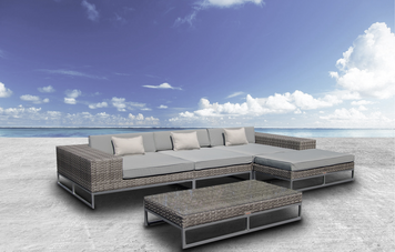 Outdoor Patio Wicker Furniture Sofa Sectional 5pc Resin Couch Set-